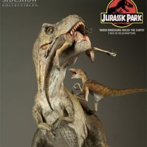 T-Rex VS Velociraptors Polystone Diorama Regular Version - Jurassic Park - SIDESHOW COLLECTIBLES