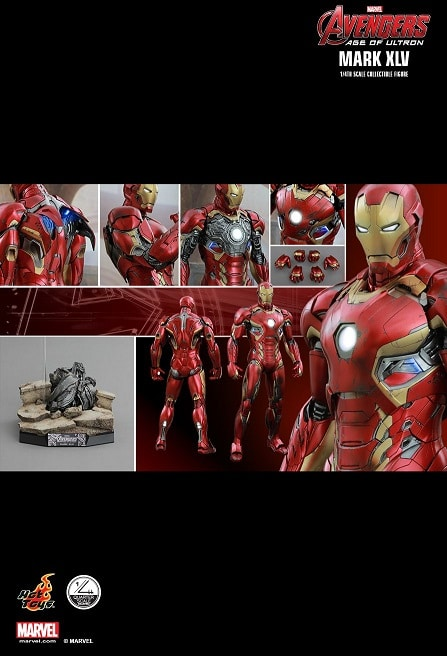 IRON MAN MARK XLV (45) 1/4TH SCALE FIGURE QS006 - AVENGERS: AGE OF ULTRON - HOT TOYS